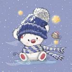 1 Panel mit süßem Bär mit Mütze auf blau | Ganzjahressweat - French Terry - Sommersweat | 40x50 cm | Vogel Sterne Punkte Schal Schneeflocken | Kinderstoff für Mädchen und Jungen | Digital | Ökotex
