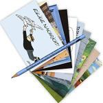 10-er Set Postarten A6 • MIX-0896 ''Postkarten-Set mit Bleistift • Flug-Fantasien'' von Inkognito • Künstler: INKOGNITO