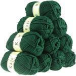 10 x 100g Mützenwolle, Jackenstrickgarn KAJA, 25% Wolle, unterschiedliche Farben, Farbe:dunkelgrün