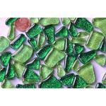 100g Soft-Glas Mosaiksteine unregelmäßig Glitzer Mosaik Glitter (Grünmix)
