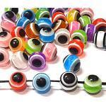100Stk Nazar Boncuk Boncugu 8mm Rund Boese Auge, Gemischte Farbe Blaues Auge Perlen Set, Evil Eye Beads, Türkischer Glücksbringer, Gastgeschenke Dekoration Amulett Babyparty