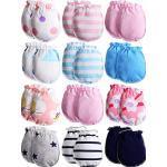 12 Paare Neugeborene Baby Kleinkind Baumwolle Handschuhe Unisex Kleinkind Keine Kratzen Fäustlinge für 0-6 Monate Baby Jungen und Mädchen (Gemischter Stil)