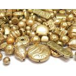 150 Stück Kunststoffperlen Metallic Matt Gold Perlen Perlenmischung Plastik Perlen Acrylicperlen Set Perle zum Auffädeln 8mm bis 18mm, Perlenset, Bastelset