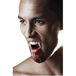 2 Deluxe Vampir-Zähne extra lang mit Kleber - wiederverwendbar - Perfekter Halt - Fangzähne Eckzähne Dracula Blutsauger Nosferatu Wolf Dämon FX