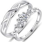 2 Stück Sterling Silber Ring für Frauen, Männer und Mädchen-Einstellbare Paar Ring mit Zirkonia Wave Shaped Eheringe Eheringe Weiße Ringe Valentinstagsgeschenke