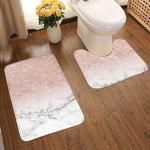 2-teiliges Badezimmerteppich-Set, modern, roségold, rosa, glitzernd, weiß, Marmor, Badematten-Set, weich, rutschfest, 49,5 x 80,9 cm und U-förmiger WC-Bodenvorleger, wasserabsorbierende Türmatte