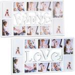 2 tlg. Bilderrahmen Set Love Friends, Fotorahmen, Fotocollage, Wechselrahmen weiß