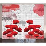 Rote Gardinen mit Kräuselband blickdicht