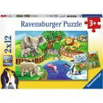 2 x 12 Teile Ravensburger Kinder Puzzle Tiere im Zoo 07602