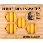 20 Hahn Baumkerzen aus Bienenwachs im Geschenkkarton