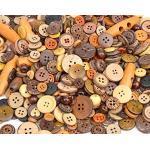 200 Stück edle Premium-Holzknöpfe -Kokosnussknöpfe im Mix - Durchmesser 15-35mm in unterschiedlichen Farben, Formen, Mustern und Größen - Knöpfe zum annähen nähen basteln Bastelknöpfe Jackenknöpfe