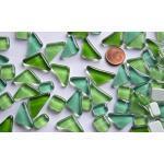 200g (32,95 € / KG) Soft Glas-Mosaiksteine unregelmäßig (Polygonal) glänzend, nicht lichtdurchlässig, Grünmix
