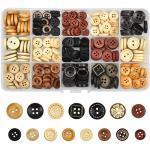225 Stück Handmade Holzknöpfe, Nähen Knöpfe, Runder Knopf mit Gemischter Größe, Wooden Button mit Kunststoff Box für DIY Handgemacht Stricken Nähen Basteln Dekorationen, 2 Löcher 4 Löcher