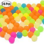 24 Stück Glitzer Flummi Springball Mitgebsel für Kindergeburtstag Junge und Mädchen Hüpfball Bunt Gummiball