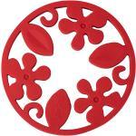 2er Design Untersetzer Silikon Topfuntersetzer Drehbar Hitzebeständig Rot Grau 1x Rot 4260166012248