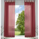 2er-Pack Gardinen Transparent Vorhang Set Wohnzimmer Voile Schlaufenschal mit Bleibandabschluß HxB 225x140 cm Bordeaux, 61000CN