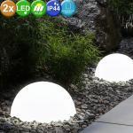 2er Set LED Solar Leuchte Kugelform Design Außen Bereich Garten Hof Veranda Lampe weiß, 33777