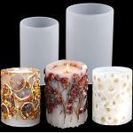 2PCS kerzen gießform DIY silikonform für für handwerk ornamente Säulenkerzenform seife herstellung Blumenproben Zylinder Harzgussform (2PCS)