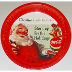 2x Coca-Cola-Teller aus Blech, rund 26 cm Durchmesser, rot/weiss, (2 Teller)
