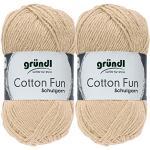 2x50 Gramm Gründl Cotton Fun Häkelgarn Schulgarn + 1 Anleitung für EIN Meerschein (31 Beige)