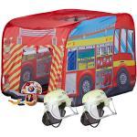 3 tlg. Feuerwehr Set, Spielzelt Feuerwehr, 2x Feuerwehrhelm Kinder, Kinderzelt mehrfarbig