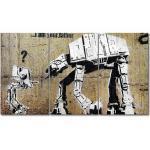 """3-tlg. Leinwandbilder-Set """"Banksy No.9"""", Grafikdruck"""