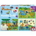 3 x 48 Teile Schmidt Spiele Kinder Puzzle Die Maus Ein Tag mit der Maus 56394