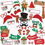 38x/set Christmas Photo Booth Props Photography Christmas Games Party Supplie H5