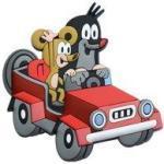 3D-Magnet Der kleine Maulwurf rotes Auto Maus