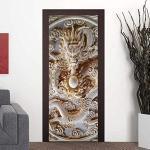 3D Türau Wandbild Drachen Landschaft Tier Foto Gedruckt Selbstklebende Wandbilder Wasserdichte Tür Aufkleber Vinyl Wandmalereien Tür Schlafzimmer Badezimmer