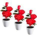 3er Set LED Deko Rosen Tisch Lampen rot Wohn Zimmer Beleuchtung Blumentopf Leuchten