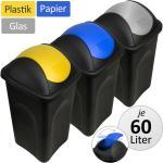 3x 60L Stefanplast® Mülleimer Set Abfalleimer Mülltrennsystem mit Schwingdeckel