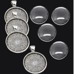 4 SET Silber Fassungen Anhänger Medaillons Cabochon Klar Glas 25mm Basteln S9