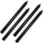 4 Stück Stabkerzen Schwarz Durchgefärbt 30 cm Lang Premium