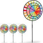 4 x Windrad Regenbogen Windspiel 3D Windmühle Gartendeko outdoor Garten Windrad mehrfarbig