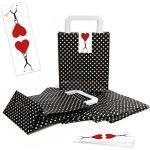 5 kleine schwarz weiß Papiertaschen Henkel GEPUNKTET Papiertüte Verpackung Geschenktüte 18 x 8 x 22 cm + 5 Aufkleber HERZ rot Geschenkverpackung Weihnachten Hochzeit Geburtstag