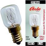 5 Stück Glühbirne E14-25 Watt Spezial-Leuchtmittel für Salzlampe und Backofen.(4927)