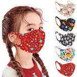 5 Stück Kinder Mundschutz Waschbar Wiederverwendbar Mund-Nasenschutz Mundbedeckung Outdoor Bandanas Halstuch Einfarbig Mundschutz für Jungen und Mädchen
