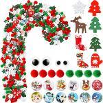 500 Stück Verschiedene Stile Weihnachten Verzierung Mix Weihnachten Knöpfe Weihnachtsbaum Holzknöpfe Pom Pom Ball Ornamente für Weihnachten DIY Handwerk Nähen Dekoration Zubehör