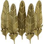 5er Wandkerzenleuchter Federn ¦ gold ¦ Metall