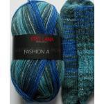 6,95€/100g - Sockenwolle 100g, blau-grau-petrol, 4-fach, Pro Lana (PLFA420)