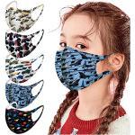 6 Stück Kinder Mundschutz Multifunktionstuch 3D Cartoon Druck Maske Atmungsaktive Baumwolle Stoffmaske Waschbar Mund-Nasenschutz Tiermotiv Bandana Halstuch Jungen Mädchen (5 Stück, K)
