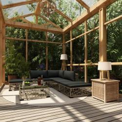 6-tlg. Garten-Lounge-Set mit Auflagen Poly Rattan Grau - Youthup