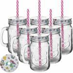 Henkel und Strohhalm 0,45 Glas Gläser Trinkglas 6er Pack Trinkgläser mit Deckel