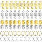 60 Stück Haarspiralen Dreadlocks, Zopfringe, Dreadlocks, Metall, Haarschmuck, Ringe, Dekoration, Clips, Flechtperlen für Zöpfe, Zubehör (Gold und Silber)