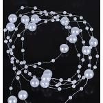 65 Meter 50 Strang Perlengirlande Perlenband Perlenkette Deko Weiß Tischdeko ...