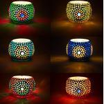 6er Set Orientalisches Mosaik Windlicht Ajan 9 cm groß Bunt | Orientalische Glas Teelichthalter orientalisch | Marokkanische Windlichter aus Glas als Dekoration | 6 Stück