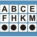8 Bahnpunkte + 4 Zirkelpunkte (Dressurbuchstaben für Reitplatz und Halle, 20 x 40 m Dressurviereck) in verschiedenen Größen als Kunststoff- oder Aluverbundtafeln (Kunststofftafeln (5 mm), 30 x 20 cm)