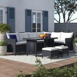 8-Sitzer Lounge-Set Marion aus Polyrattan mit Polster