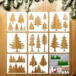 8 Stücke Kiefer Schablonen Kunst Malen Vorlagen Schablonen für Malen auf Holz Winter Feiertag DIY Wand Boden Dekor Zubehör (7,9 x 7,9 Zoll)